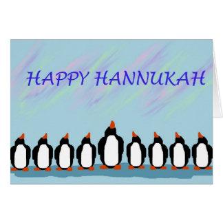 Pingouins de Hannukah Carte De Vœux