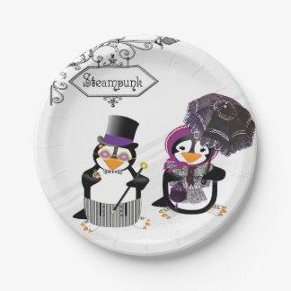 Pingouins de Steampunk Assiettes En Papier