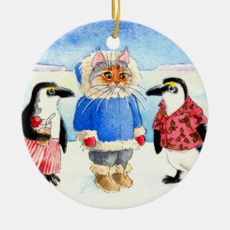 Pingouins et ornement de Noël de chat