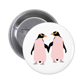 Pingouins lesbiens de gay pride tenant des mains pin's
