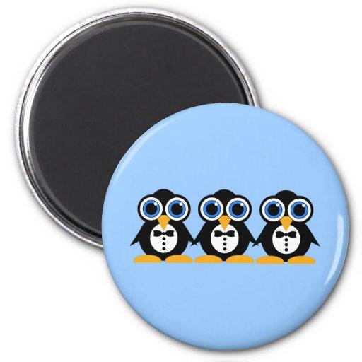 pingouins magnet rond 8 cm