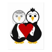 Pingouins mariés dans l'amour cartes postales