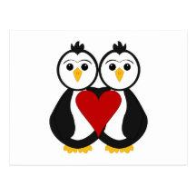 Pingouins mignons dans l'amour cartes postales