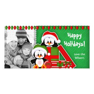 Pingouins mignons de carte photo de Noël Photocarte