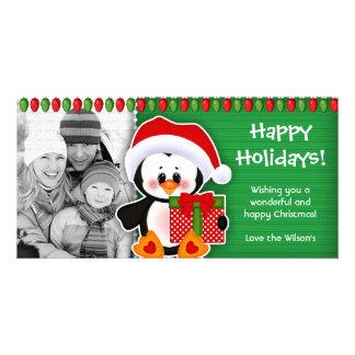 Pingouins mignons de carte photo de Noël Cartes Avec Photo