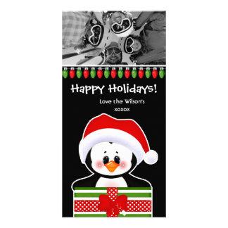 Pingouins mignons de carte photo de Noël Photocarte Personnalisée