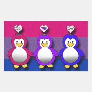 Pingouins mignons de fierté de Bi d amour de Bi Autocollant Rectangulaire