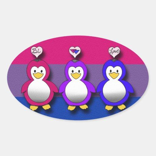 Pingouins mignons de fierté de Bi d'amour de Bi Autocollant Ovale
