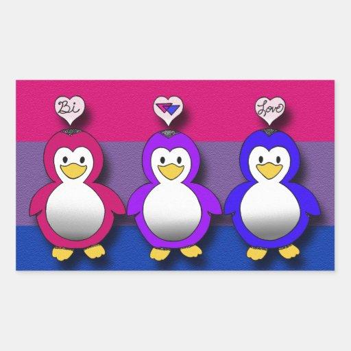 Pingouins mignons de fierté de Bi d'amour de Bi Autocollants En Rectangle