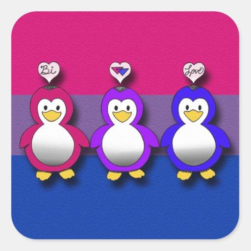 Pingouins mignons de fierté de Bi d'amour de Bi Sticker Carré