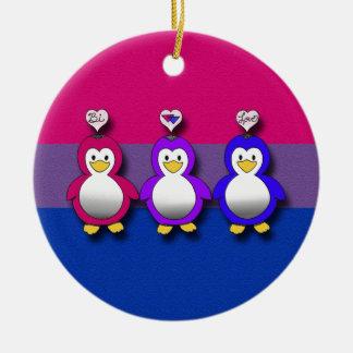 Pingouins mignons de fierté de Bi d'amour de Bi Ornements De Noël