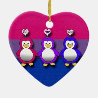 Pingouins mignons de fierté de Bi d'amour de Bi Décoration Pour Sapin De Noël