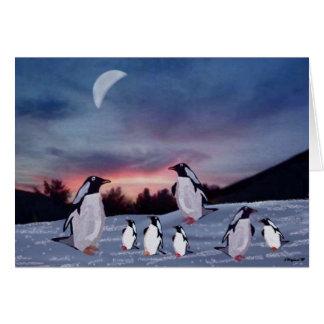 Pingouins sur des cartes de glace
