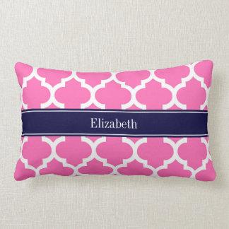 Pink2 monogramme blanc chaud de nom de bleu marine coussin rectangle