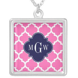 Pink#2 monogramme initial de la marine 3 blancs pendentif carré