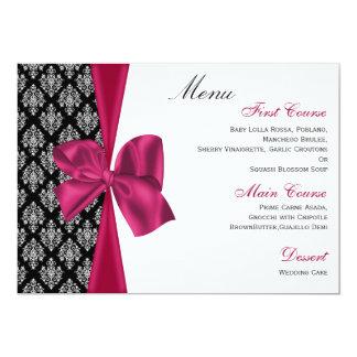 pink damask  wedding menu custom invites