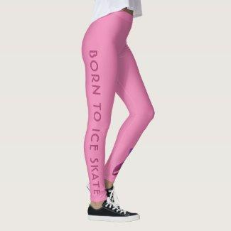 Pink figure skating leggings - Born to ice skate