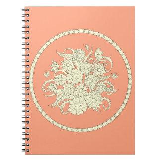 pink pattern with summer bouquet into l'envoyez carnet à spirale