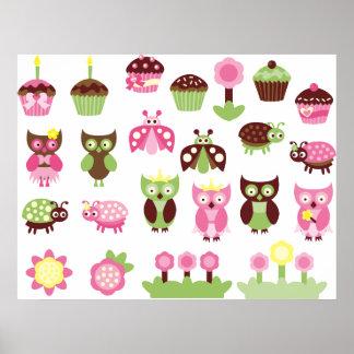 PinkLimeBugs1 Posters