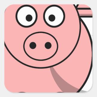 Pinky pig sticker carré