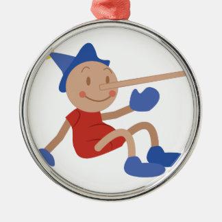 Pinocchio Ornement Rond Argenté