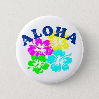 Pin's Aloha jaune vintage de rose de bouton de Pinback