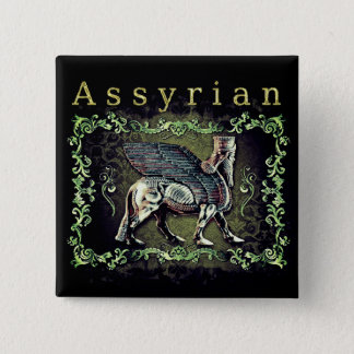 Pin's Assyrien carré Lamassu de bouton de 2 pouces