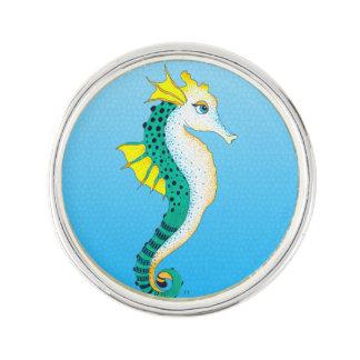 Pin's bleu turquoise d'hippocampe
