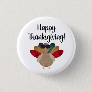 "Pin's ""Bon thanksgiving !"" Bouton avec la Turquie"