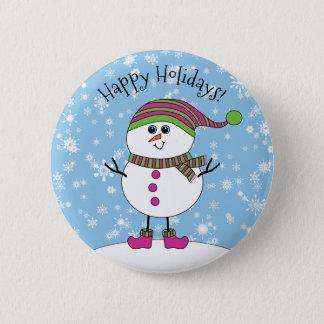 Pin's Bonhomme de neige fantaisie d'hiver bonnes fêtes