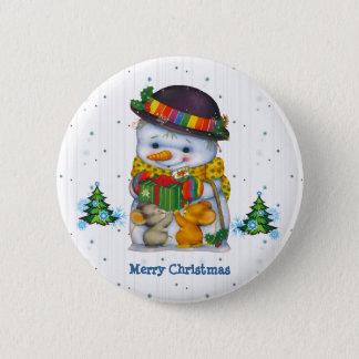 Pin's Bonhomme de neige mignon avec bouton de deux le