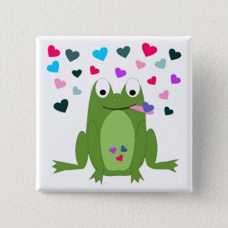 Pin's Bouton affamé de grenouille d'amour
