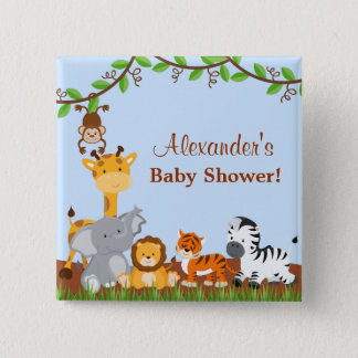 Pin's Bouton animal de baby shower de garçon de jungle