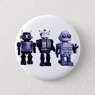 Pin's bouton bleu de robots