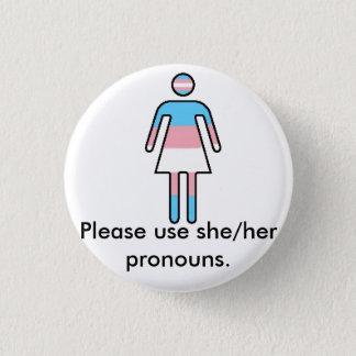 Pin's Bouton de fierté/pronom de Transwoman