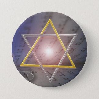 Pin's Bouton de judaïsme de Menorah d'étoile de David