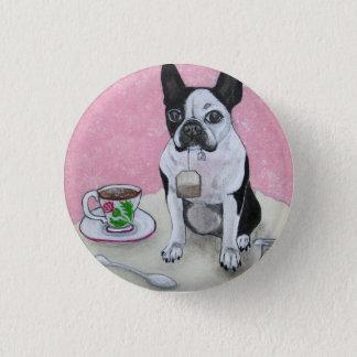 Pin's Bouton de partie de temps de thé de chien de