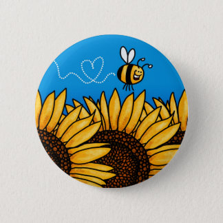 Pin's bouton de tournesol de traînée d'abeille