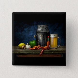 Pin's Bouton d'écrevisses et de bière