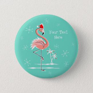Pin's Bouton des textes de flamant de Noël rond