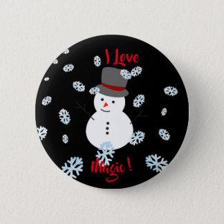 Pin's Bouton noir et blanc de magie d'amour de Snowman/I