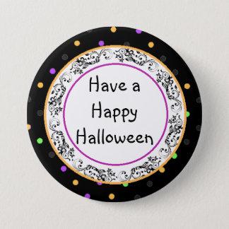 Pin's Bouton noir heureux de Halloween de point de polka