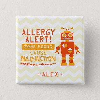 Pin's Bouton orange d'alerte d'allergie alimentaire de