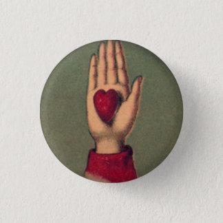 Pin's Bouton rond disponible de 1 pouce de coeur