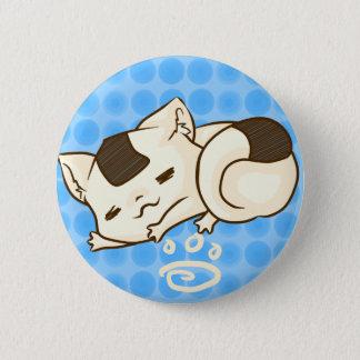 Pin's Bouton somnolent de chat d'Onigiri (bleu)