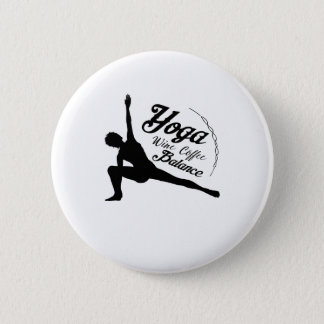 Pin's Cadeau drôle d'équilibre de café de vin de yoga