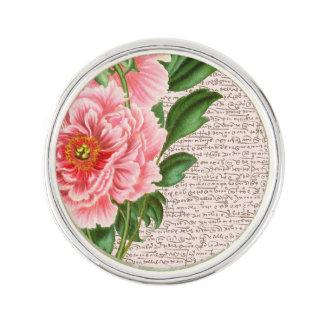 Pin's Calligraphie rose de pivoines