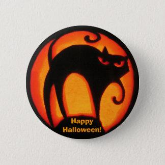 Pin's Chat effrayant heureux de Halloween ! Bouton
