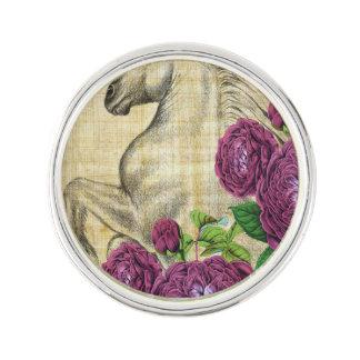Pin's Chevaux et roses