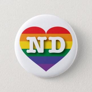 Pin's Coeur d'arc-en-ciel de gay pride du Dakota du Nord
